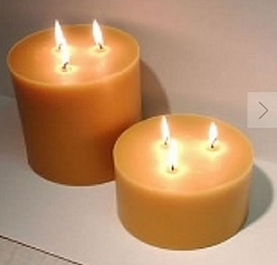 tripple wick beeswax pillar candles