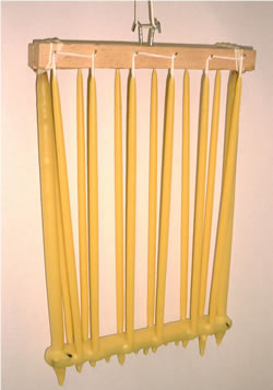 hand dipped beeswax taper candle frame
