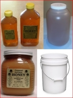 Bulk containers of pure Michigan honey