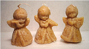3 Beeswax Angel Candles