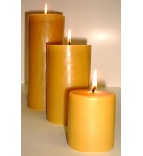 Large 3.5 Inch Wide Beeswax Cylinder Pillars