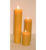 Small 2 Inch wide Beeswax Round Pillars